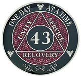 AA 43 Year Coin, Silver Color Plated-Medallion, Alcoholics Anonymous Coin