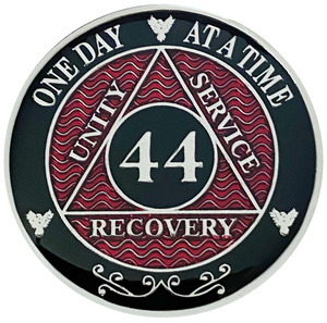 AA 44 Year Coin, Silver Color Plated-Medallion, Alcoholics Anonymous Coin