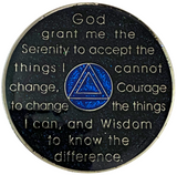 AA 5 Year Silver Color Plated Glitter Coin, Blue, Silver, Black Rainbow Glitter Alcoholics Anonymous Medallion