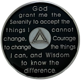 AA 90 Days Coin, Silver Color Plated-Medallion, Alcoholics Anonymous Coin