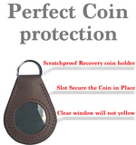 New And Improved Universal AA & NA Recovery Coin Holder Keychain (Brown)