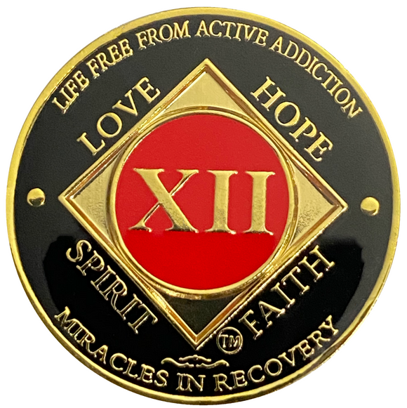 NA 12 Year Coin, Gold Color Plated-Medallion, Narcotics Anonymous Coin