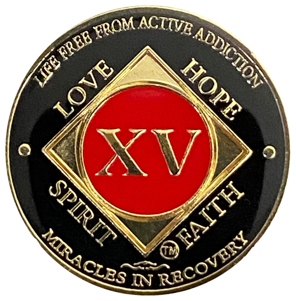 NA 15 Year Coin, Gold Color Plated-Medallion, Narcotics Anonymous Coin