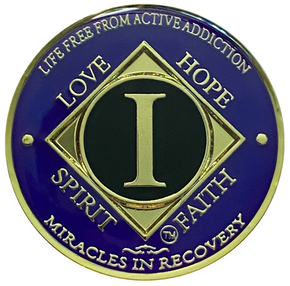 NA 1 Year Coin, Gold Color Plated-Medallion, Narcotics Anonymous Coin
