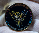 "Phoenix Bird Coin, ""out of the ashes of addiction, renewal and growth Token, Medallion, Serenity Prayer"