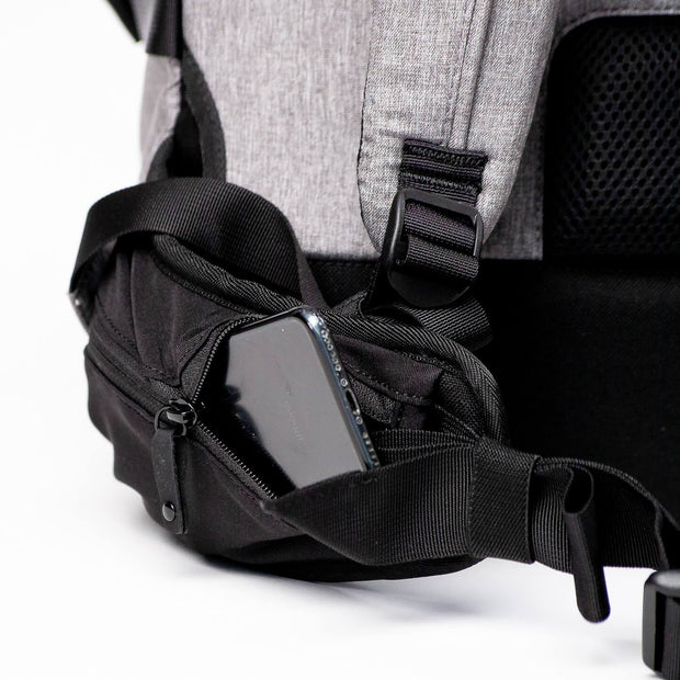 Hip belt pocket holds a phone on the Khmer Explorer Travel backpack