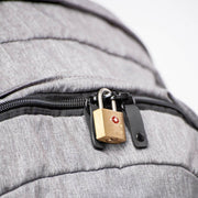 Lockable zippers on the Khmer Explorer Travel Backpack