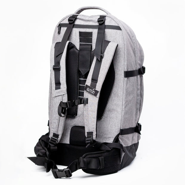 Back View showing the ergonomic suspension system of the Khmer Explorer Travel Backpack