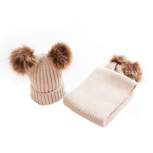 Pom Pom Beanie And Scarf Baby Set