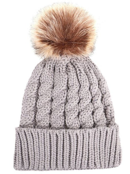 Women & Girls Cable Knit Pom Pom Beanie- Layered Inside