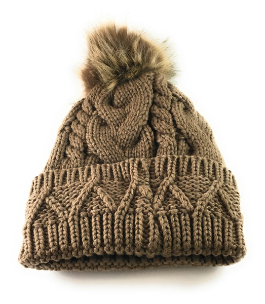 Women & Girls Cable Knit Pom Pom Beanie- Layered Inside, Front Design
