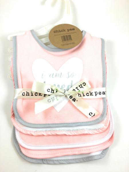 "Chick Pea Bib Set of 5 ""I Am So Loved"""