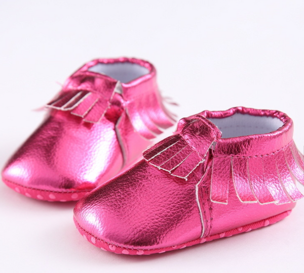 Metallic Pink Fringe Leather Baby Moccasins