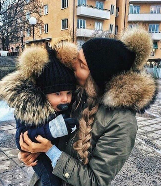 Matching Mom and Baby Pom Pom Beanie