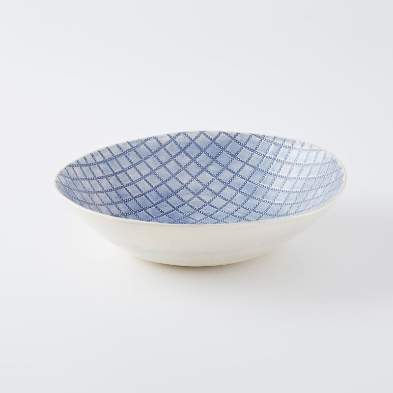 Large Salad Bowl Print Blue