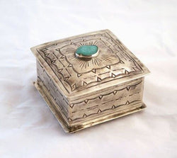 Small Square Box with Turquoise