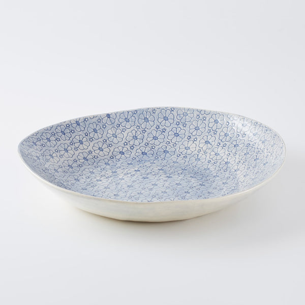 XL Deep Round Serving Platter Print Blue