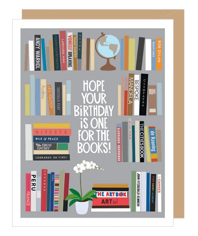 Bookshelf Birthday Card