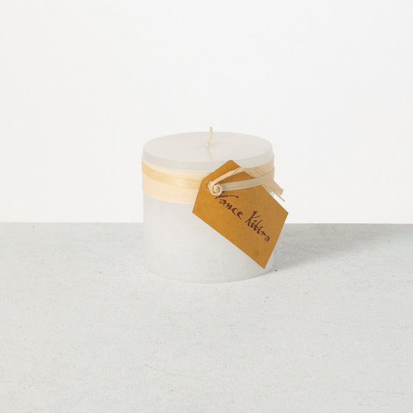Melon White Timber Pillar Candle