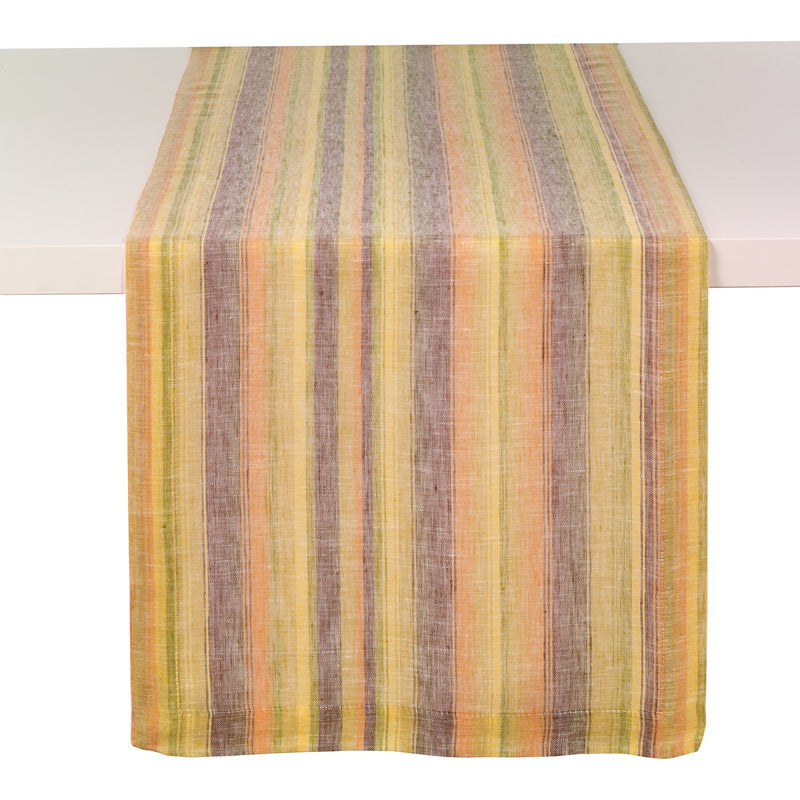 Multi Stripe Sunrise Linen Runner