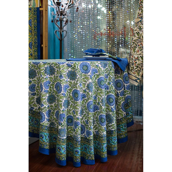 Sunflower Blue Tablecloth