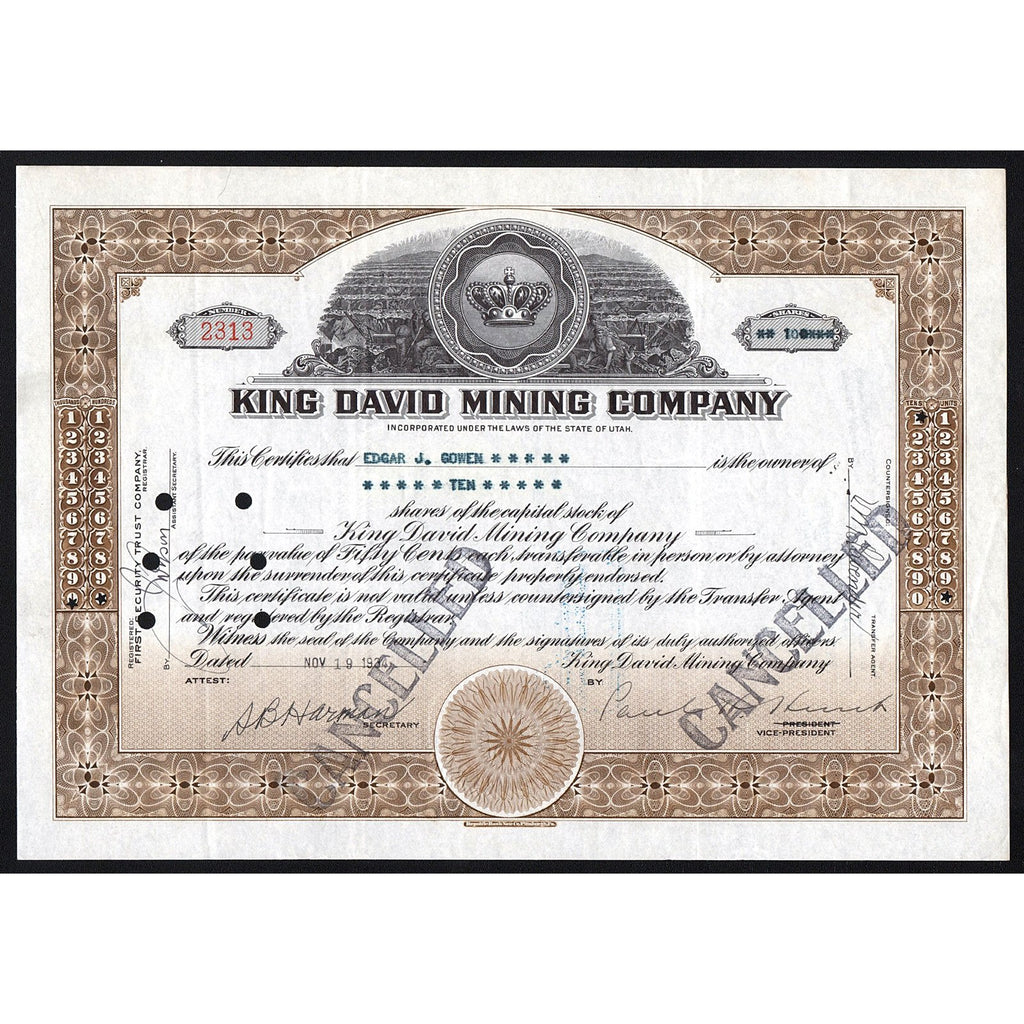 King David Mining Company Stock Certificate