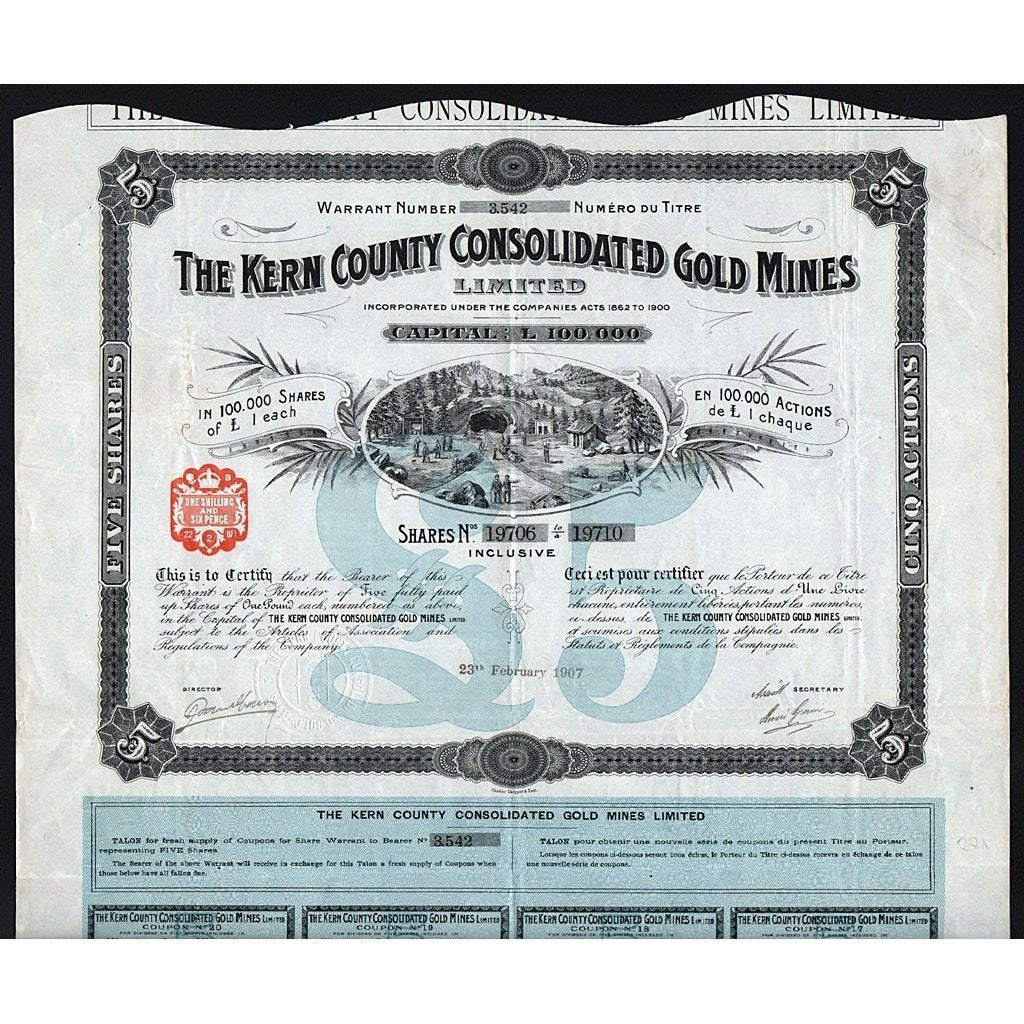 The Kern County Consolidated Gold Mines, Limited Stock Certificate