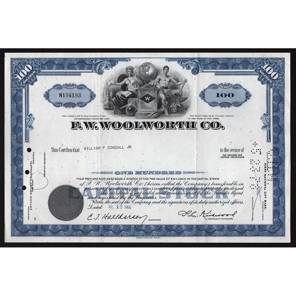 F.W. Woolworth Co. Stock Certificate