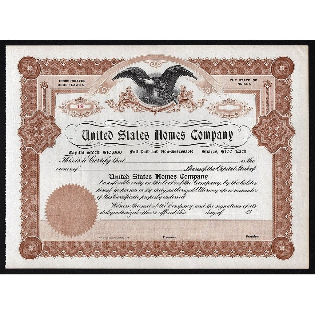 United States Homes Company Stock Certificate