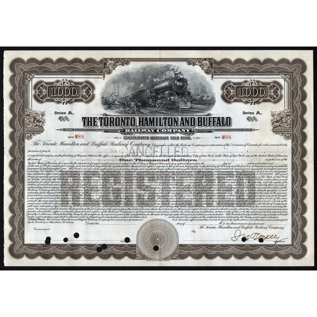 The Toronto, Hamilton & Buffalo Railway Company - Gold Bond Stock Certificate