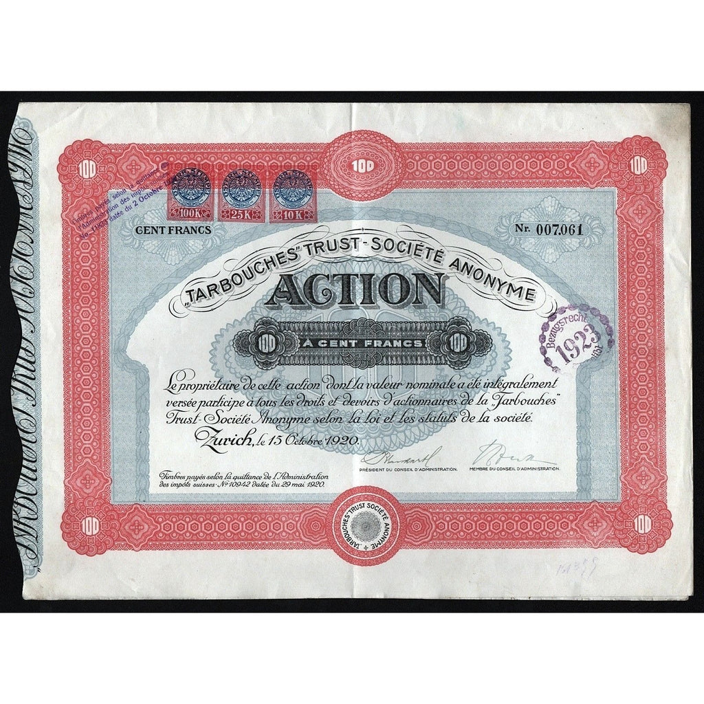 Tarbouches Trust Societe Anonyme Stock Certificate
