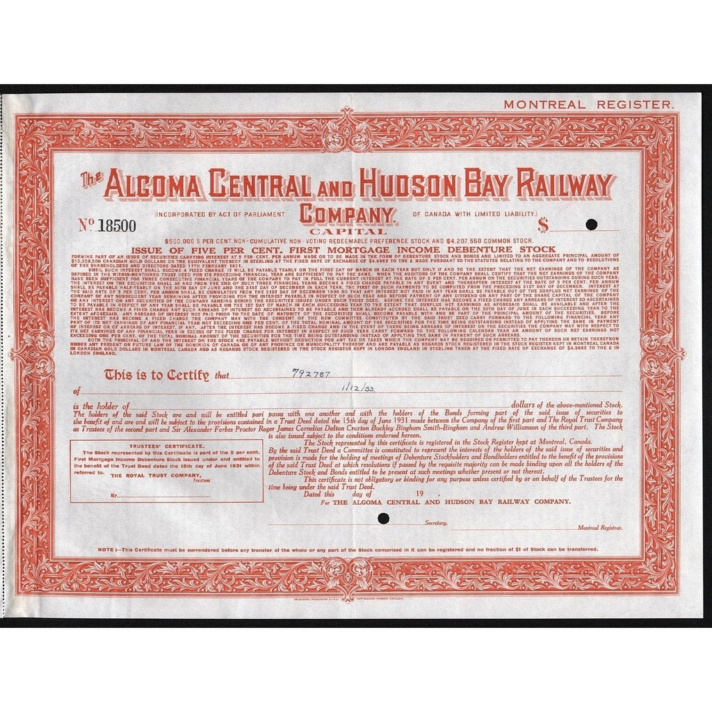 The Algoma Central & Hudson Bay Railway Company Stock Certificate