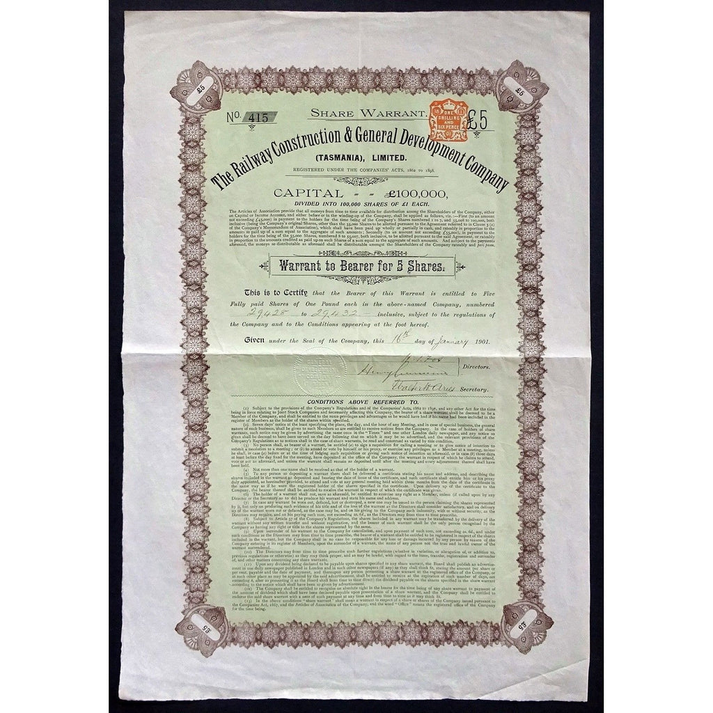 The Railway Construction & General Development Company (Tasmania), Limited Stock Certificate