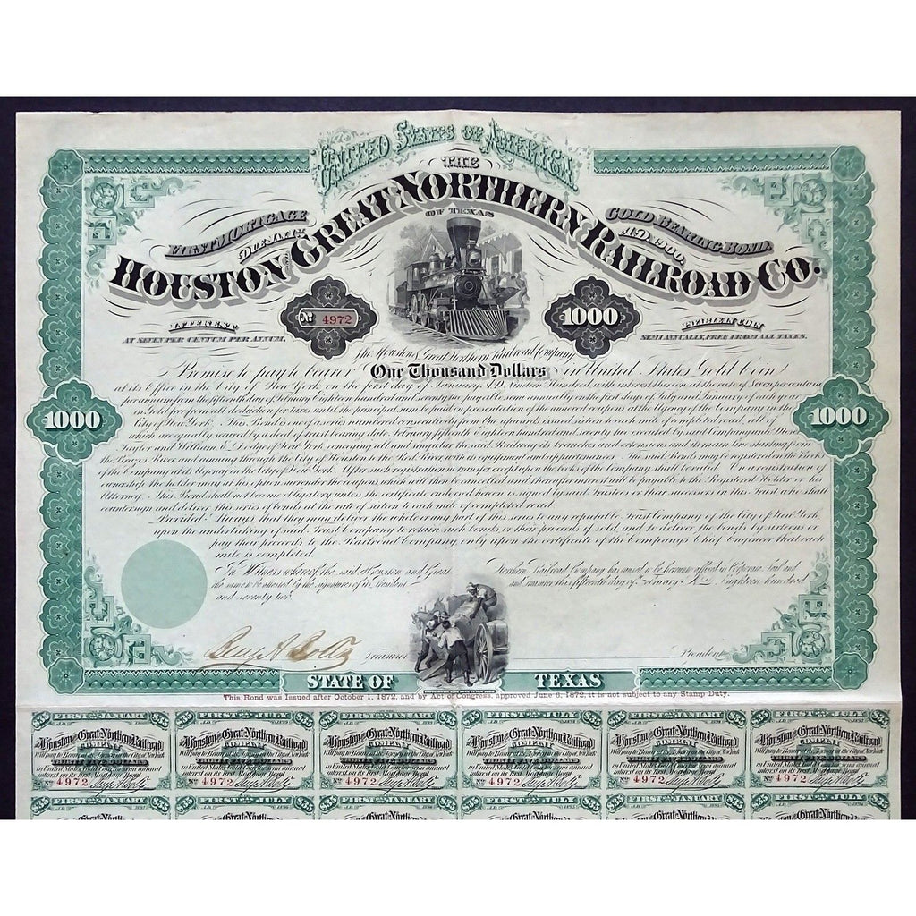 The Houston and Great Northern Railroad Co. of Texas Stock Certificate