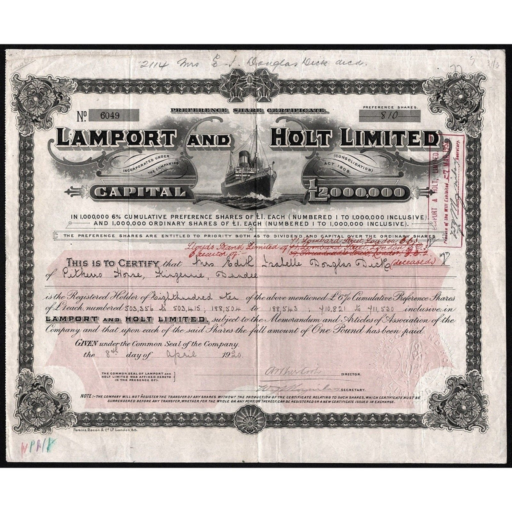 Lamport and Holt Limited Stock Certificate