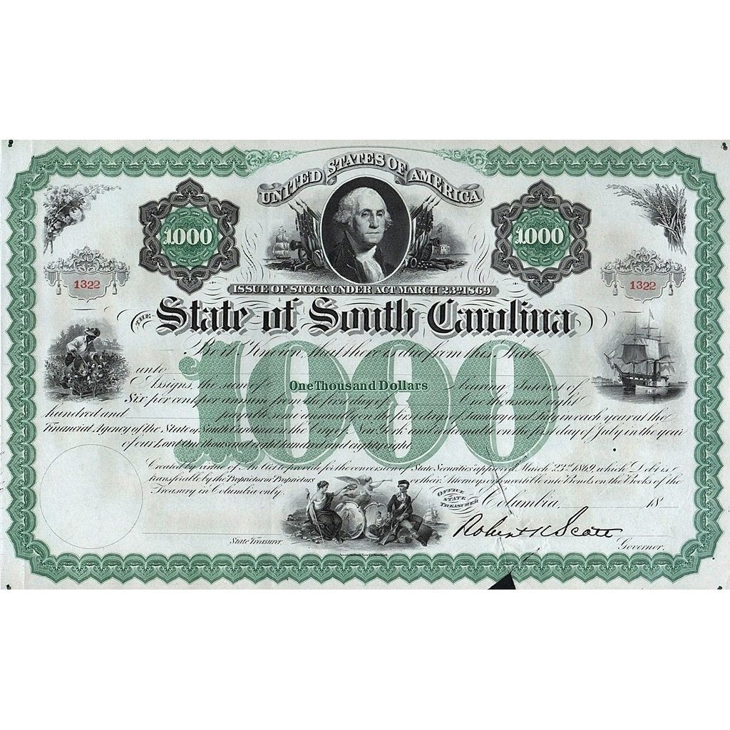 The State of South Carolina, Issue of Stock under Act March 23rd 1869 (Robert Scott signature) Stock Certificate