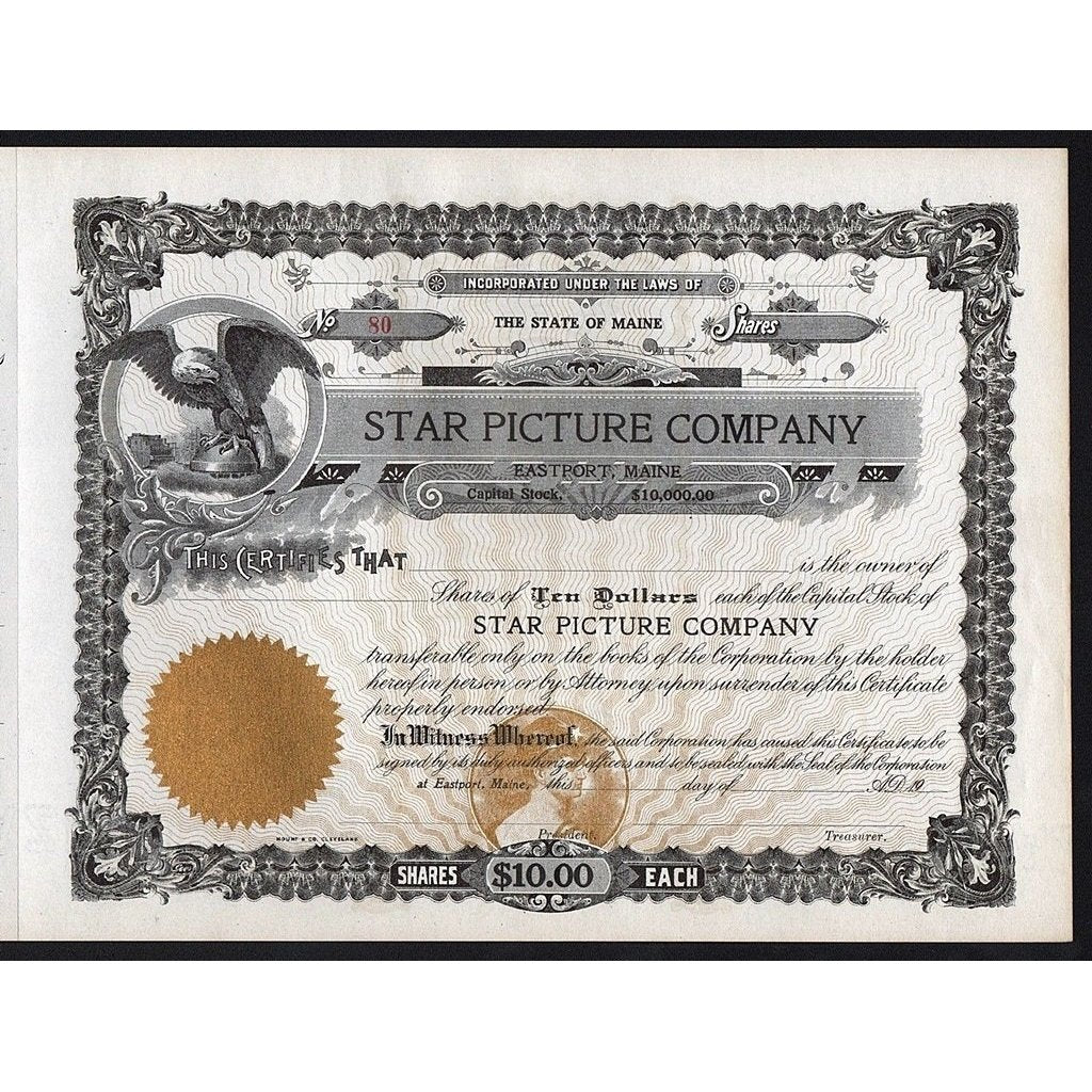 Star Picture Company Stock Certificate