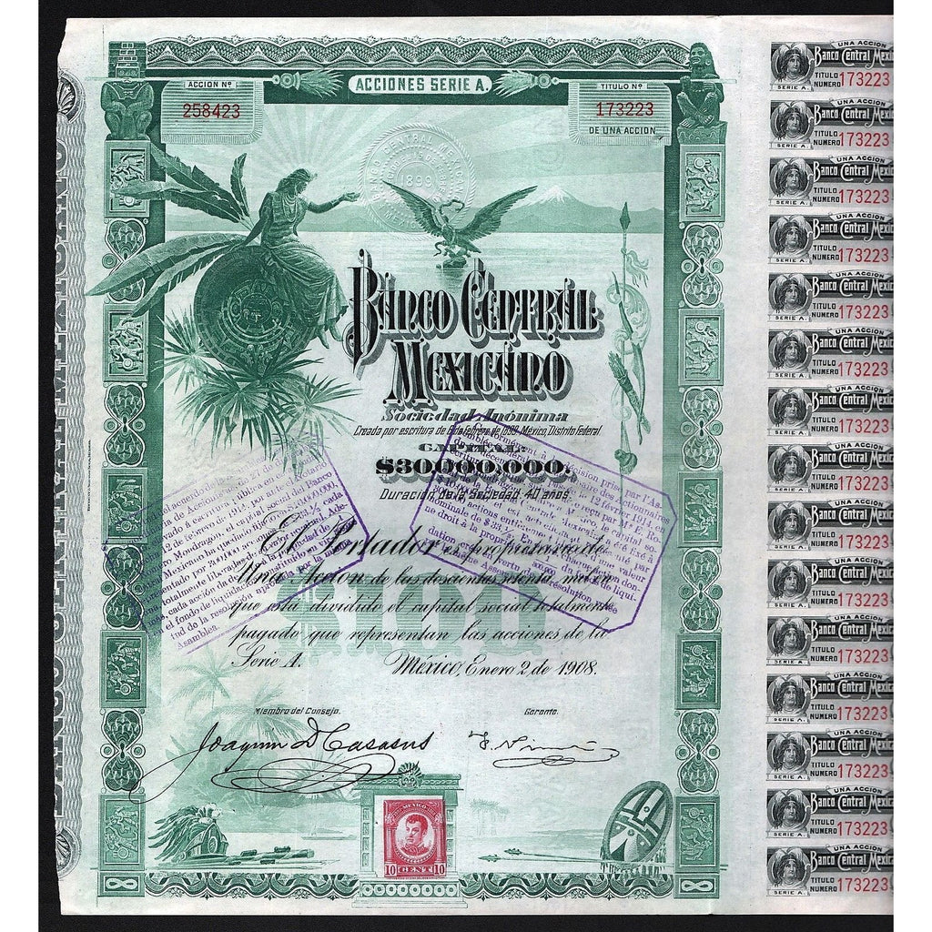 "Banco Central Mexicano Sociedad Anonima (""Blueberry"") Stock Certificate"