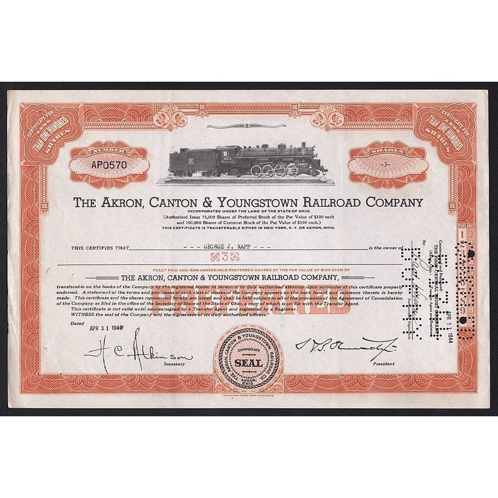 The Akron, Canton & Youngstown Railroad Company Stock Certificate