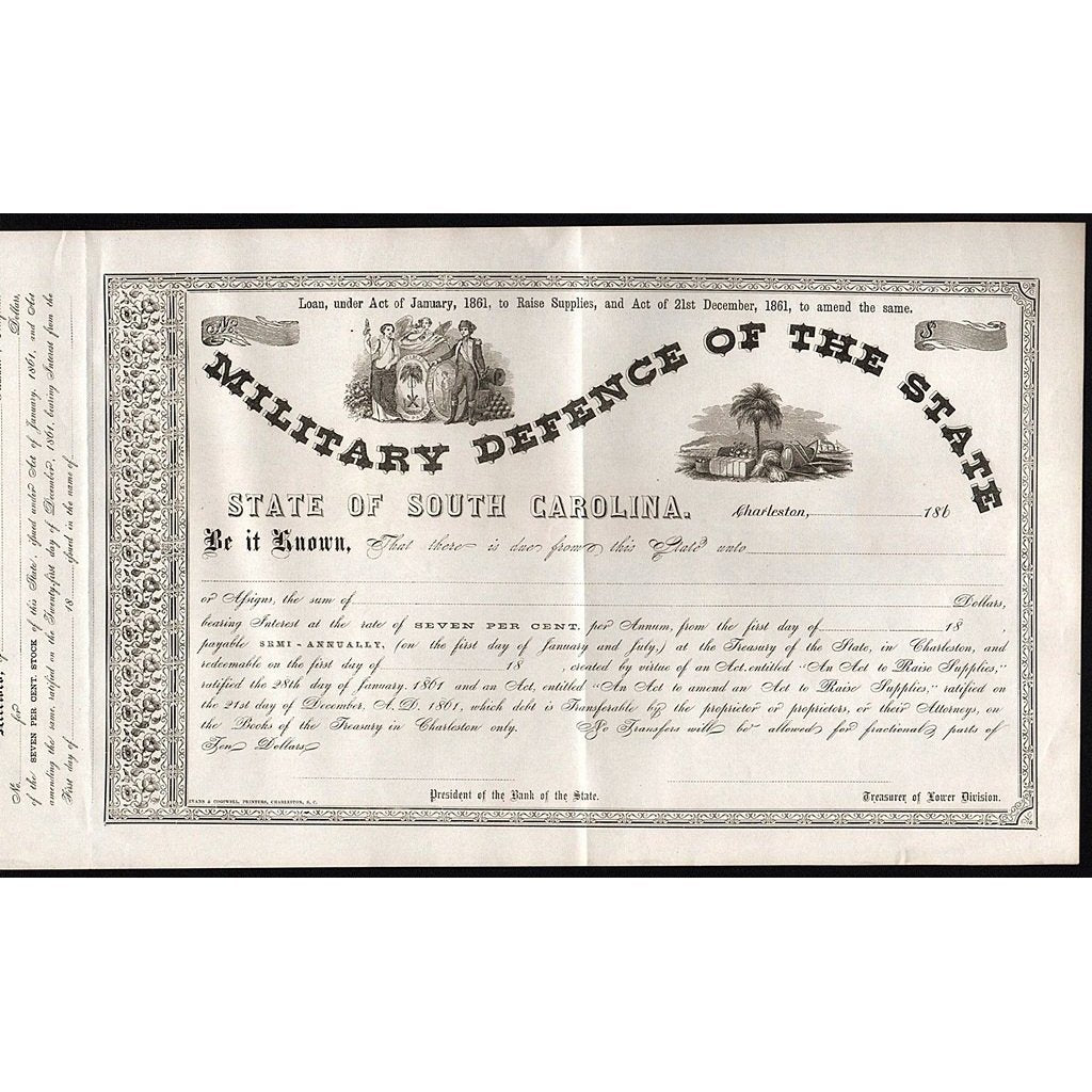 Military Defence of the State (South Carolina) Stock Certificate