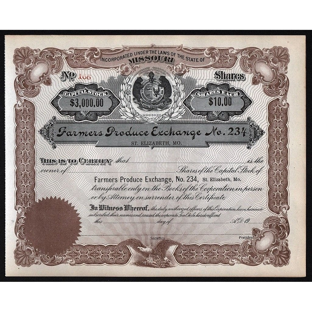 Farmers Produce Exchange No. 234 Stock Certificate
