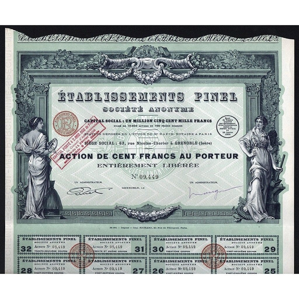Etablissements Pinel Societe Anonyme Stock Certificate
