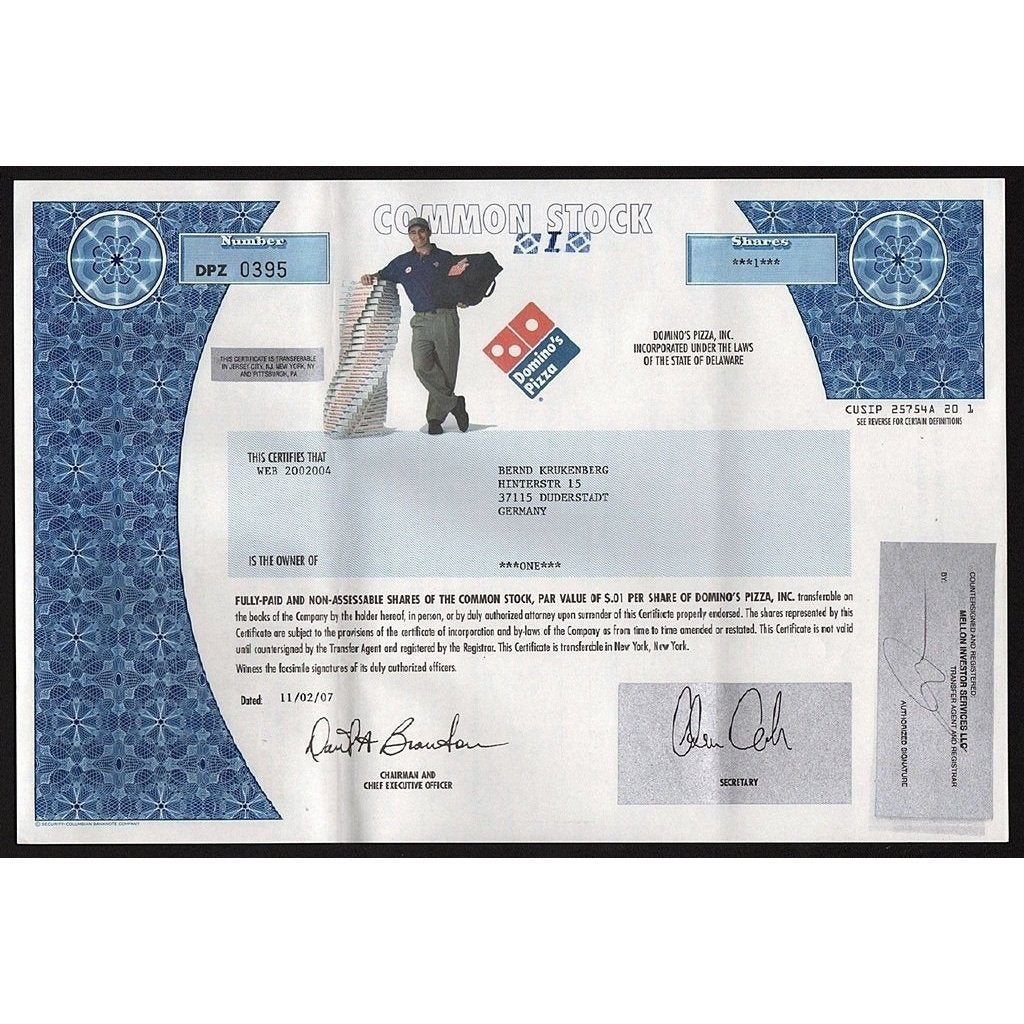 Domino's Pizza, Inc Stock Certificate
