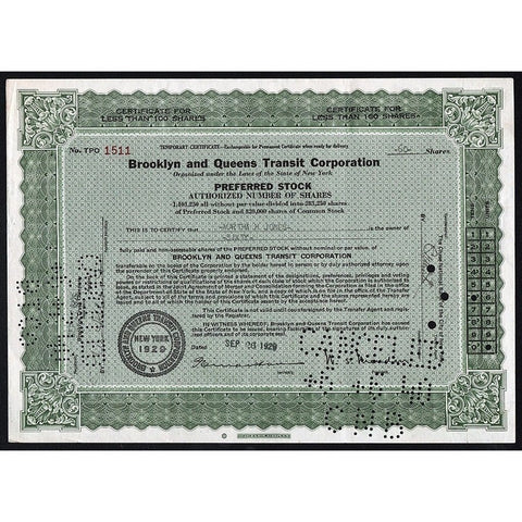 Brooklyn and Queens Transit Corporation Stock Certificate