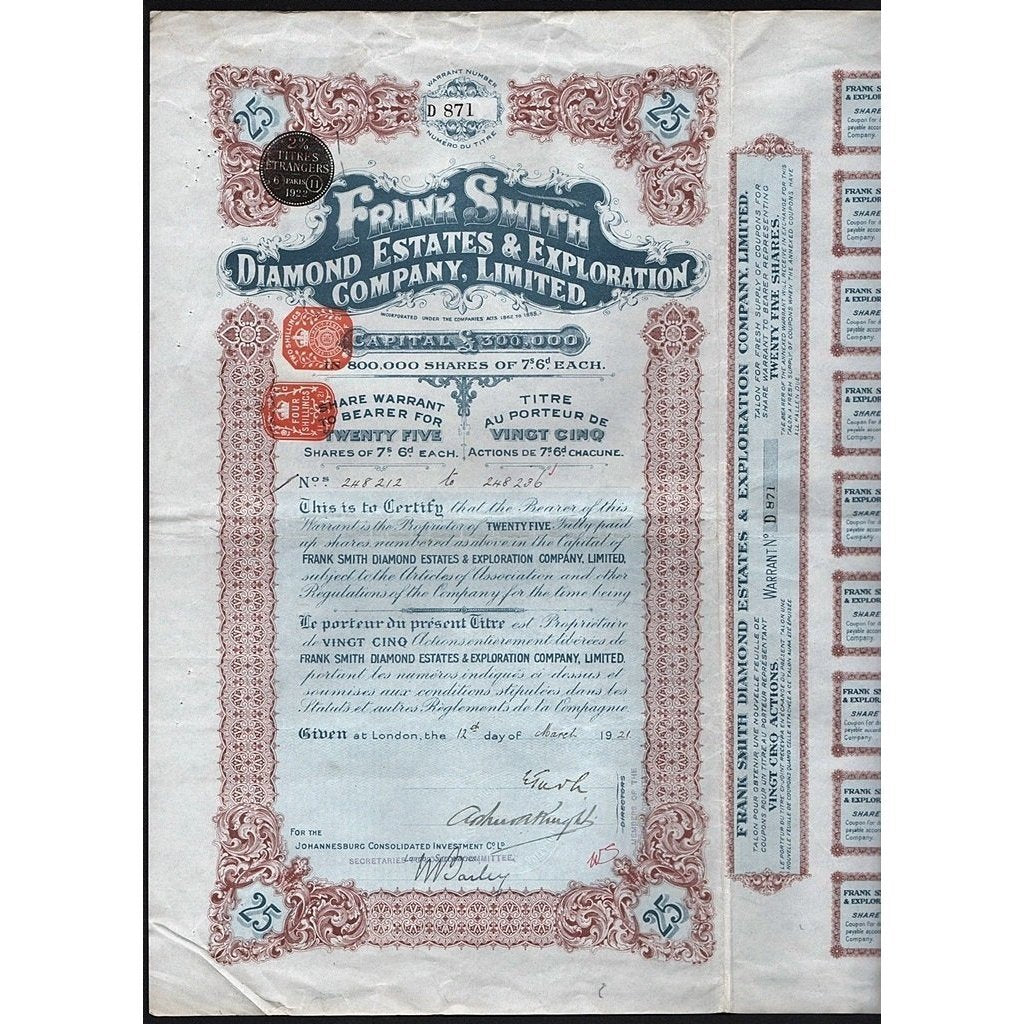 Frank Smith Diamond Estates & Exploration Company, Limited Stock Certificate
