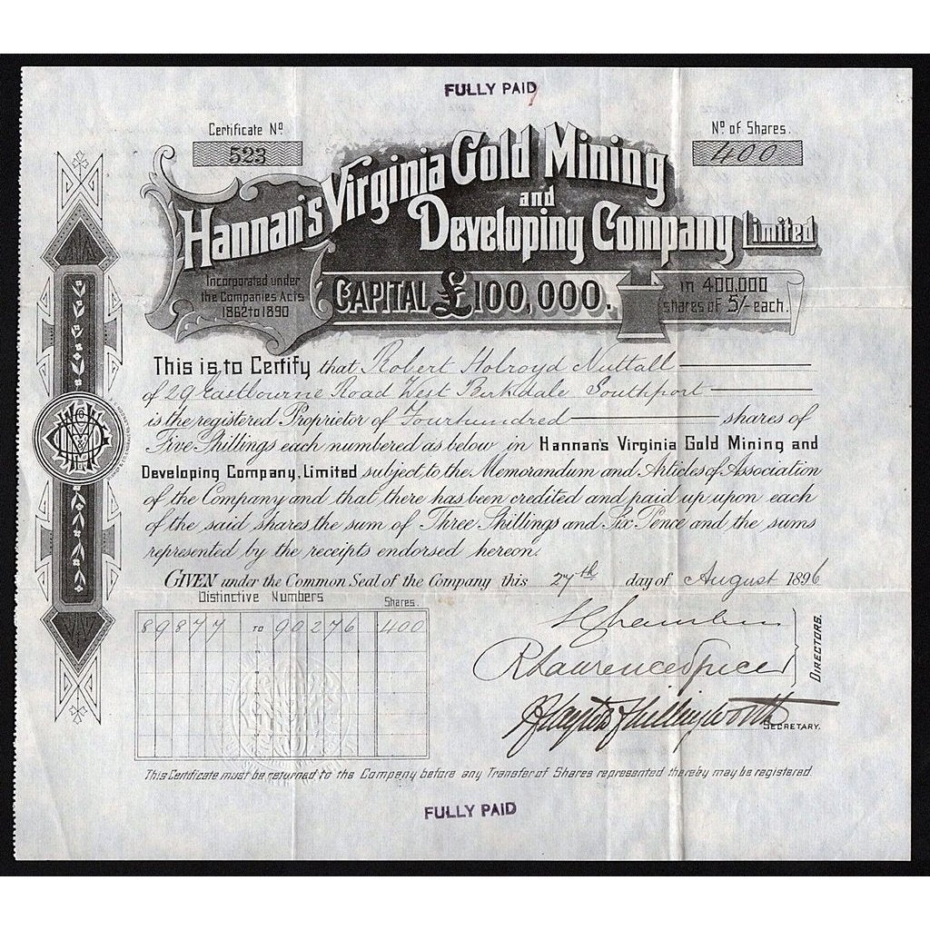 Hannan's Virginia Gold Mining and Developing Company, Limited Stock Certificate