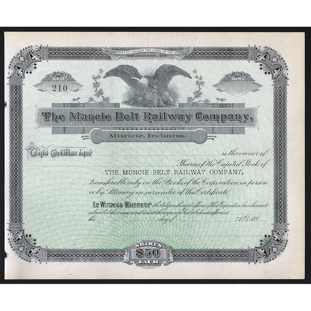The Muncie Belt Railway Company Stock Certificate