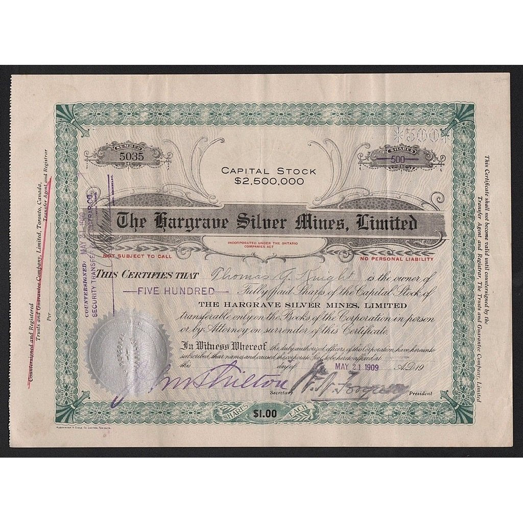 The Hargrave Silver Mines, Limited Stock Certificate