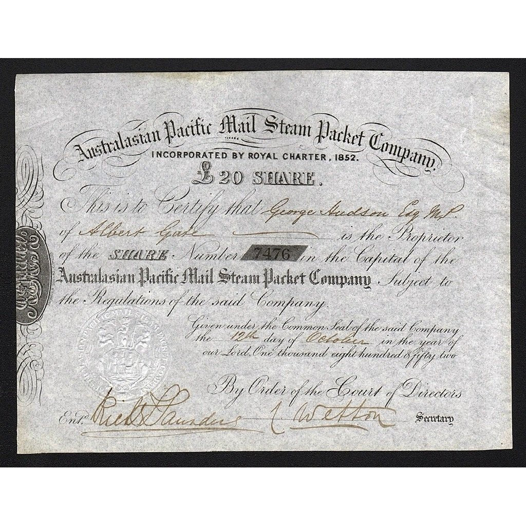 Australasian Pacific Mail Steam Packet Company Stock Certificate