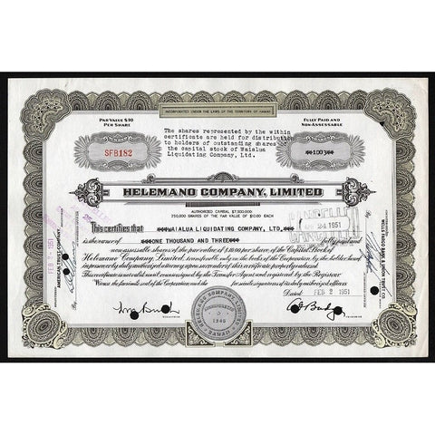Helemano Company, Limited (Pineapple Plantation) Stock Certificate
